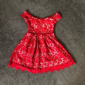 Red lace detailed dress